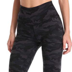 High Waisted Full-Length Yoga Pants - Grey Camo